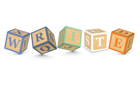 WRITE written with alphabet blocks - vector illustration Vector