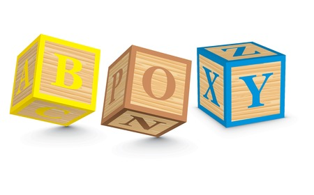 BOY written with alphabet blocks - vector illustration Vector