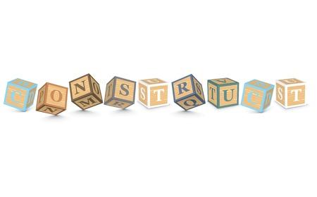 construct: CONSTRUCT geschreven met alfabet blokken - vector illustratie