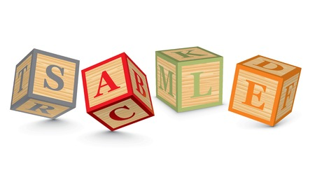 SALE written with alphabet blocks - vector illustration Vector