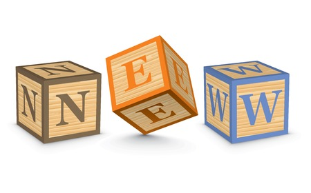 NEW written with alphabet blocks - vector illustration Vector