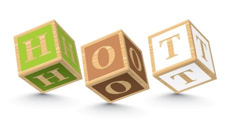 HOT written with alphabet blocks - vector illustration Vector