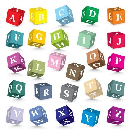 Alphabet written with blocks - vector illustration Vector