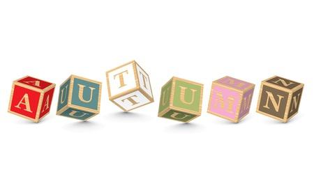AUTUMN written with alphabet blocks - vector illustration Vector