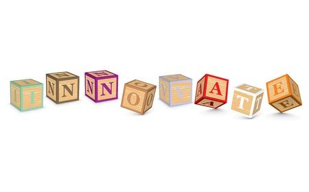 INNOVATE written with alphabet blocks - vector illustration Vector