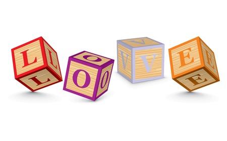LOVE written with alphabet blocks - vector illustration Vector