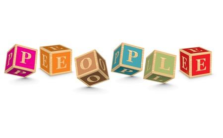 PEOPLE written with alphabet blocks - vector illustration Vector