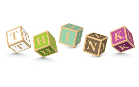 THINK written with alphabet blocks - vector illustration Vector