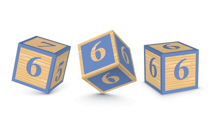Number 6 wooden alphabet blocks - vector illustration Vector