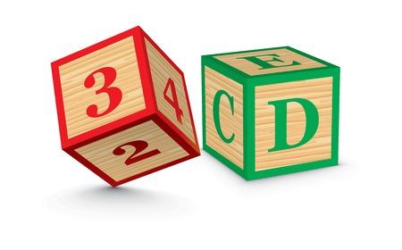 3D written with alphabet blocks - vector illustration Vector