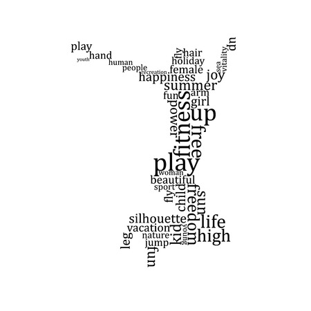 Jumping people silhouette made with words - vector illustration Vector