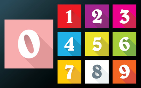 Flat numbers with long shadows for mobile app