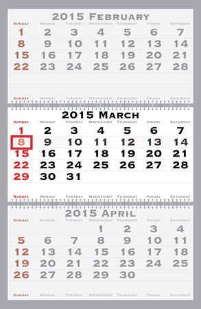 marked: 2015 march with red dating mark - current marked holiday is Womens Day Illustration