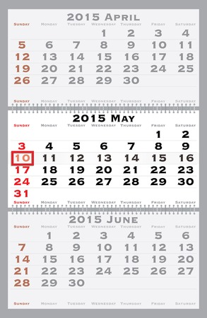 2015 may with red dating mark - current marked holiday is Mother's Day Stock Vector - 29616231