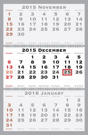 2015 december with red dating mark - current marked holiday is Christmas Stock Vector - 29616288