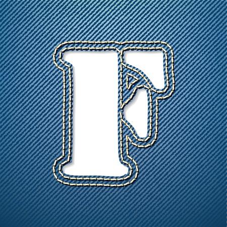 denim jeans: Pantalones de mezclilla de la letra F - ilustraci�n vectorial Vectores