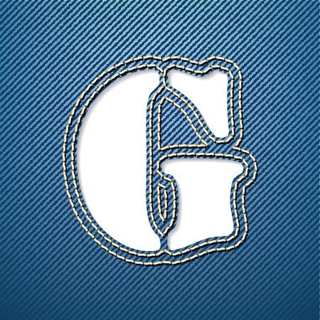 denim jeans: Denim jeans letra G - ilustraci�n vectorial Vectores