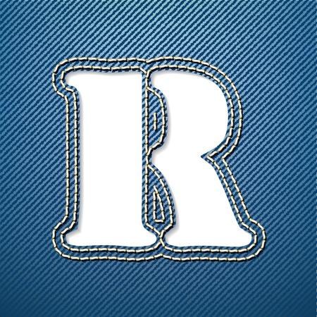 denim jeans: Pantalones de mezclilla de la letra R - ilustraci�n vectorial