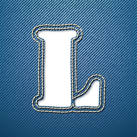 Denim jeans letter L - vector illustration Vector