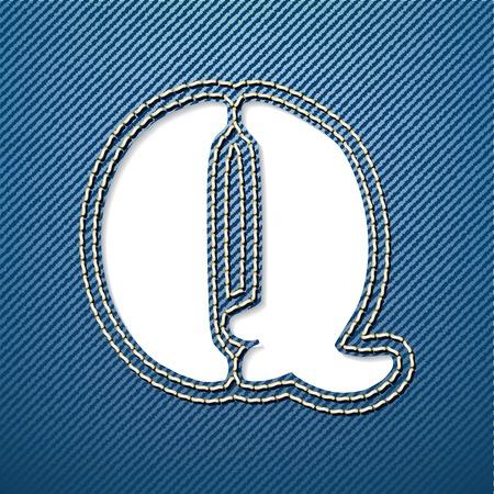 denim jeans: Denim jeans letra Q - ilustraci�n vectorial