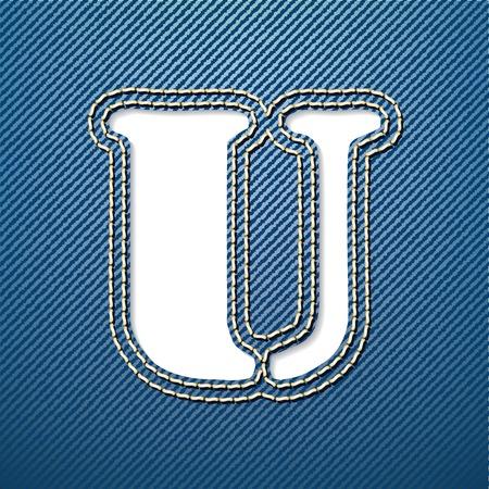 Denim jeans letter U - vector illustration Vector