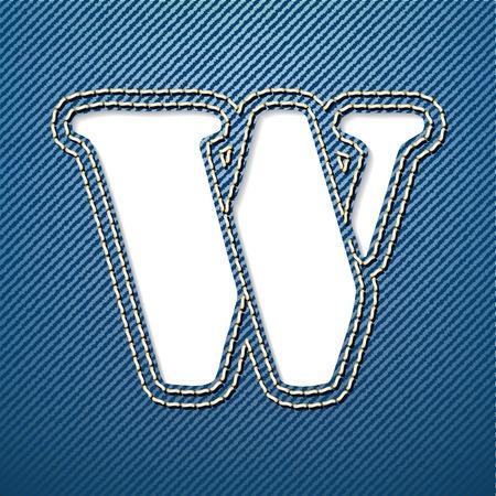 denim jeans: Los jeans letra W - ilustraci�n vectorial