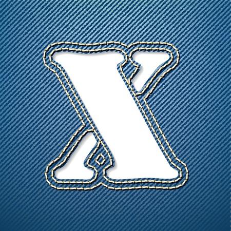 denim jeans: Ilustraci�n vectorial - Vaqueros Denim letra X