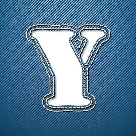 denim jeans: Denim jeans letra Y - ilustraci�n vectorial Vectores