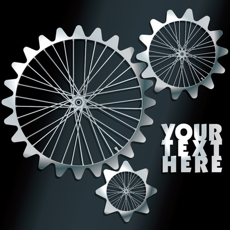 spokes: 3D machine gears with spokes - vector illustration