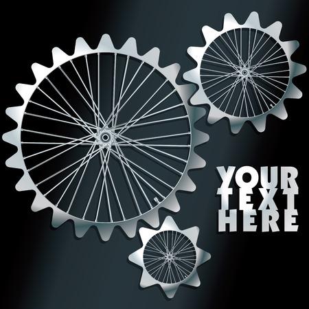 spokes: Engranajes de la m�quina en 3D con rayos - ilustraci�n vectorial