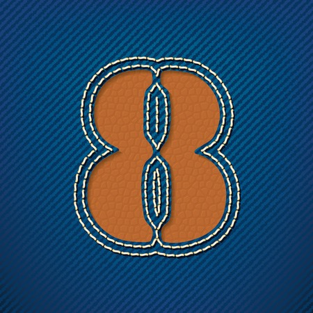 sew tags: Number 8 made from leather on jeans background - vector illustration