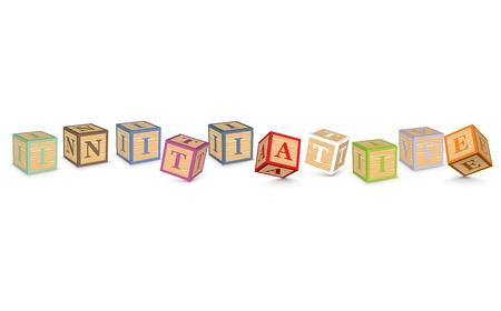 INITIATIVE written with alphabet blocks - vector illustration Vector