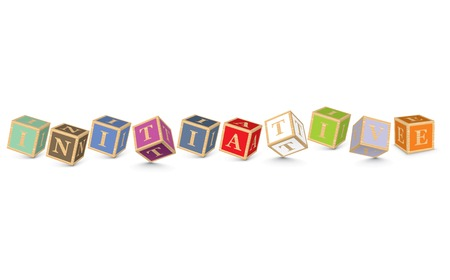 initiative: INITIATIVE written with alphabet blocks - vector illustration