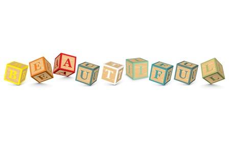 BEAUTIFUL written with alphabet blocks - vector illustration Vector