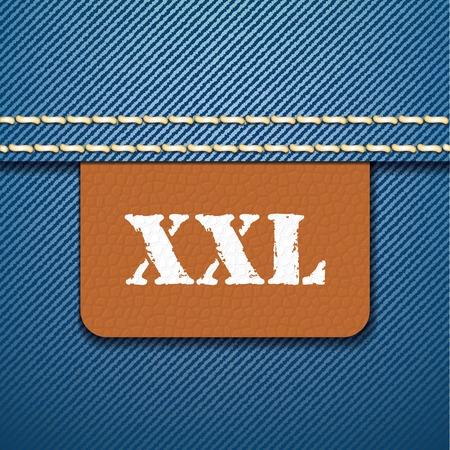 threadbare: XXL abbigliamento etichetta dimensioni - illustrazione vettoriale