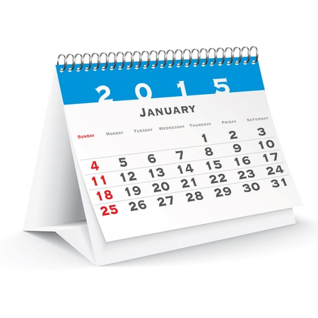 calendario da tavolo: Gennaio 2015 scrivania calendario - illustrazione vettoriale