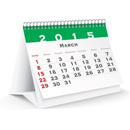 March 2015 desk calendar - vector illustration Vector