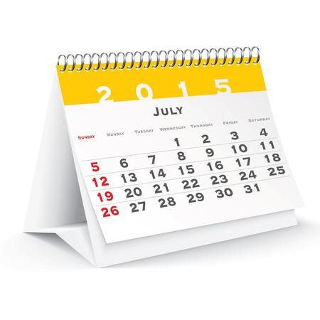 July 2015 desk calendar - vector illustration Vector