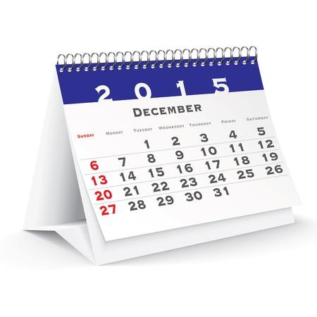 calendario da tavolo: Dicembre 2015 scrivania calendario - illustrazione vettoriale