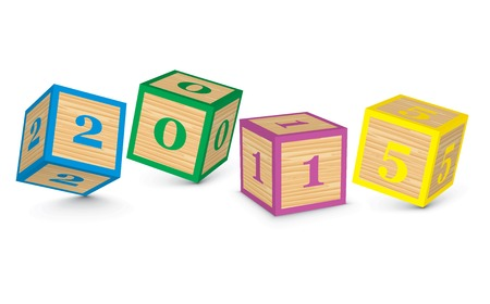 2015 made from toy blocks - vector illustration Vector