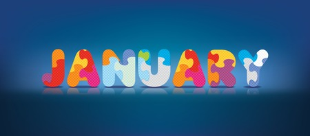JANUARY written with alphabet puzzle - vector illustration Vector