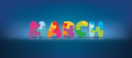 eva: MARCH written with alphabet puzzle - vector illustration