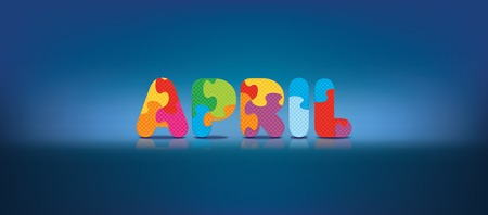 eva: APRIL written with alphabet puzzle - vector illustration