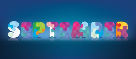 SEPTEMBER written with alphabet puzzle - vector illustration Vector