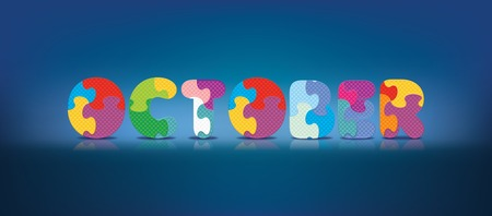 eva: OCTOBER written with alphabet puzzle - vector illustration