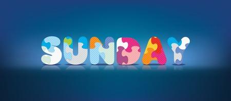eva: SUNDAY written with alphabet puzzle - vector illustration