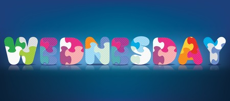 WEDNESDAY written with alphabet puzzle - vector illustration Vector