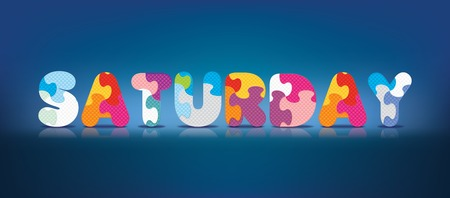 SATURDAY written with alphabet puzzle - vector illustration Vector