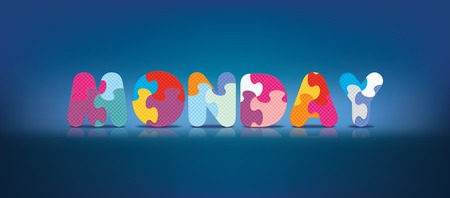 MONDAY written with alphabet puzzle - vector illustration Vector