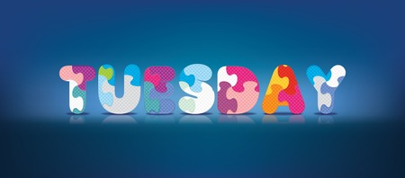 TUESDAY written with alphabet puzzle - vector illustration Vector